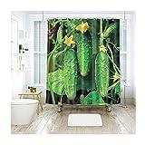 AieniD Badezimmer Deko Hängend Gemüsegurke Mehrfarbig Bad Vorhang Size:200X180CM