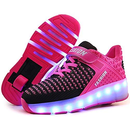 Recollect Unisex Kinder LED Rollenschuhe Automatisch 1 Räder 7 Farbe Blinken USB Aufladen Leuchtend Skateboardschuhe Gymnastik Turnschuhe Für Jungen Mädchen,Pink,35EU