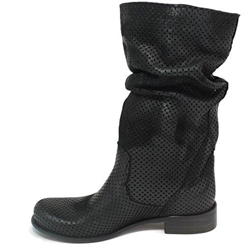 Stivali Traforati Biker Boots Estivi Metà Polpaccio Donna In Time 0226 Nero in Vera Pelle Made in Italy Nero