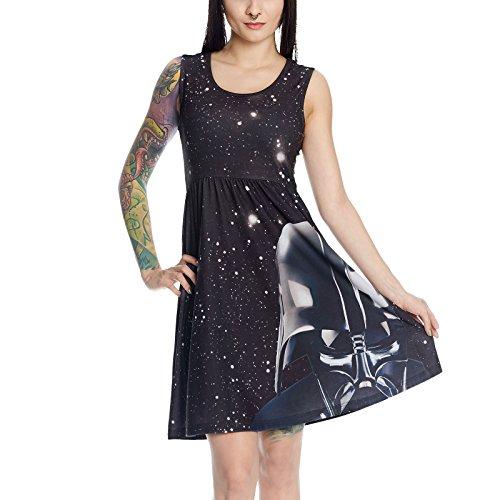 Star Wars Damen Mini Kleid Darth Vader Space Print Elbenwald schwarz - - R2d2 Kostüm Frauen