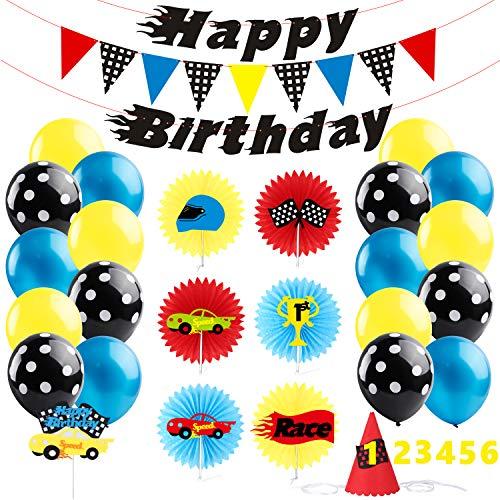 BEYUMI Rennwagen Party Dekoration- Car Creatures Paper Fans und Partyhut, Bunte Cake Topper, Alles Gute zum Geburtstagbanner und -Girlande unter dem Motto Car, Blau-Schwarze Luftballons