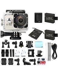 Action Caméra Sport Full HD 1080P 12MP WiMiUS Q2 WIFI Etanche 30m Caméra Embarquée avec Gand Angle 170 Degrés (Argent)