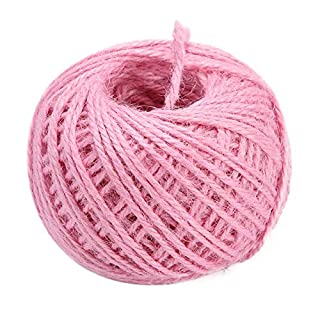 Prosperveil 50M Natural Garden Jute Twine String Hemp Rope Cord 3mm Strong for Gift Wrapping DIY Crafts Gardening Tags Gifts Decoration (Pink)