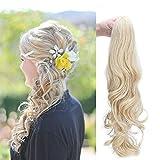 Rajout Cheveux Queue de Cheval [Attachée Par Pince] Réparation Rapide Pour Une Mauvaise Coupe de Cheveux [60CM][Dore Mèche Blond Blanchi]