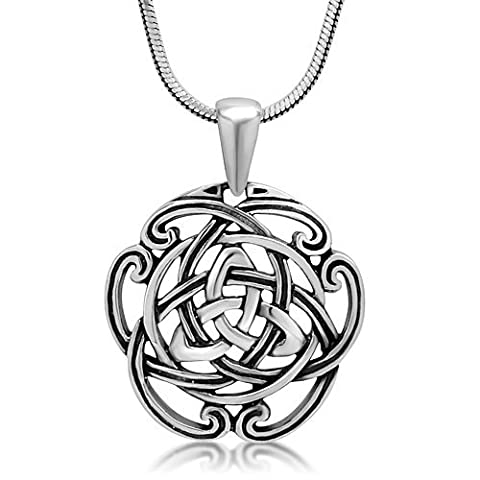 Argent sterling 925triquetra Trinity Nœud celtique ouvert Pendentif rond Collier, 45,7cm