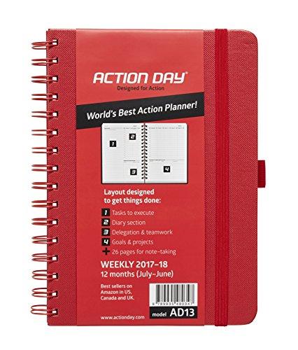 Action Day Agenda scolaire World's Best Action Planning pour année 2017-2018-mise en page Action pour rappel des tâches-calendrier journalier / hebdomadaire / mensuel / annuel (reliure avec fil de fer) 6x8 Inch - Red Red