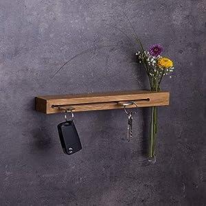 Schlüsselbrett Holz mit Blumenvase, 30cm - viele Varianten/Holzarten (in Bayern handgefertigt) Schlüsselhalter Eiche/moderne Schlüsselleiste als Board Schlüssel-Aufhänger/Eichenholz