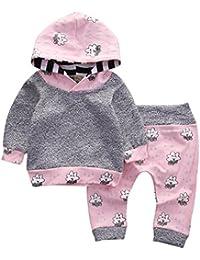 Conjuntos de ropa, Dragon868 Cute niño bebé niña rayas dibujos animados Tops encapuchado + pantalones conjuntos