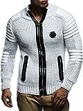 LEIF NELSON Hommes Cardigan Pullover Veste Hoodie avec Nieten Sweatshirt Biker-Style matelassé col Châle LN5175; Taille S, écru-