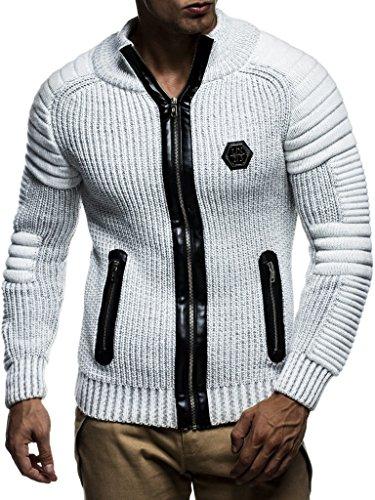LEIF NELSON Herren Strickjacke Pullover Jacke Hoodie mit Nieten Sweatshirt Biker-Style Gesteppt Schalkragen LN5175; Größe XL, Ecru-Grau Strickjacke Pullover Jacke