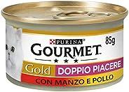 Purina Gourmet Gold Umido Gatto Doppio Piacere con Manzo e Pollo, 24 Lattine da 85 g Ciascuna, Confezione da 2