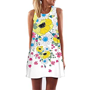 Kleid Damen Sommer SANFASHION Kleider Vintage Boho Frauen Sleeveless Strand Printed Short Minikleid