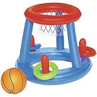 Bestway 52190 - Juego Canasta Baloncesto Hinchable Flotante para Piscina, incluye Balón Hinchable, 61 cm