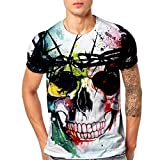 Challeng Herren T-Shirt Slim-Fit Herren Drucken T-Stücke Hemd Tintenfisch Kurz Ärmel T-Shirt Bluse Oberteile (XXXL, Mehrfarbig)