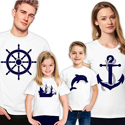 Family Matching Shirts Anchor Dolphin Sailor for T-Shirts Set of 4 Tshirt Vacation Gift