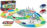 360 Pieces Magic Car Tracks Set Amazing Flexible Bendable Glow in the Dark Racetrack with 2 LED Light Up Cars for Kids (360 Pieces)