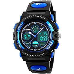 Jelercy Multi Function Digital Watch LED Quartz Water Resistant Electronic Sport Watches for Boys Blue