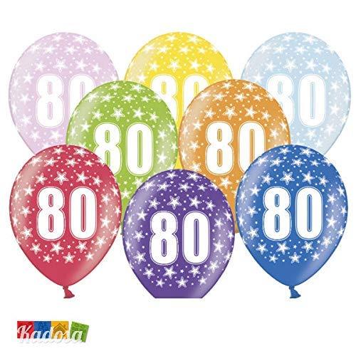 6 BALLONS latex 30 cm nombre 80 ANNIVERSAIRE 80 ANNÉES