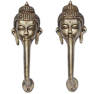 Aakrati Buddha Face Door Handle of Brass Yellow