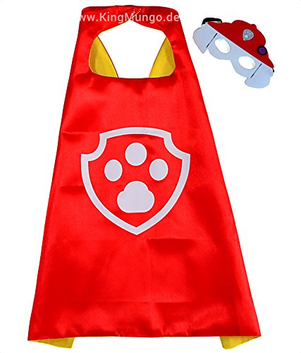 Paw Patrol Marshall Cape und Maske - Superhelden-Kostüme für Kinder - Kostüm für Kinder von 3 bis 10 Jahre - für Superheld Mottopartys! Spielsachen für Jungen und Mädchen - King (Rocky Patrol Paw Kostüm)