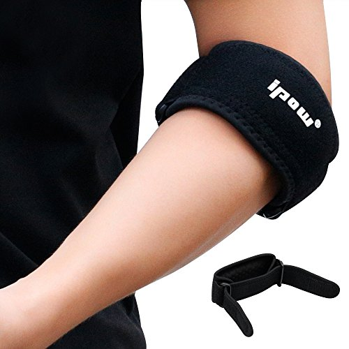 Ipow® 2 pezzi leggeri antiscivoli supporti/tutori per gomito con cuscinetto di compressione - supporto di gomito gomitiera per tennis o golfer