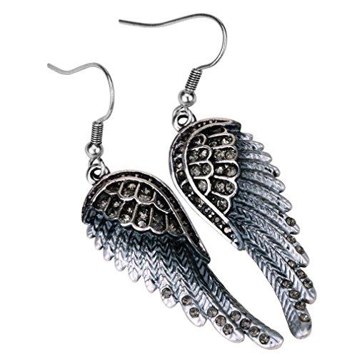 Loveangel Jewellery Women's Crystal Angel Wings Dangel Earrings Biker Jewelry NakPE72HVq