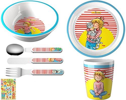 Haba Melamin Geschenkset Conni 4teilig Kindergeschirr Geburtstagsgeschenk Teller Schale Besteck Becher Geschenkverpackung