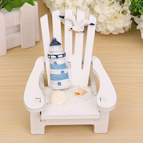Miniatura Poltrona Legno Bianco Sedia Con Faro Decorazioni Per Casa Delle Bambole