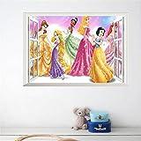 Disney Princess Wandsticker selbstklebend Kinder Wandtattoo Disney Prinzessin Fenster Cartoon Motiv - CartoonPrintDesign