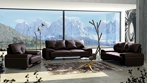 Polstergarnitur Sofa Set 3er & 2er Wohnlandschaft 3-Sitzer und 2-Sitzer Möbel Set - FLORIDA LUX (Braun)