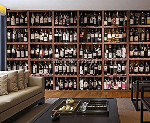 Jiangwei Tapete 3d Stil Moderne Rotweinflaschen Holz Weinregal Fototapeten Cafe Bar Restaurant Hintergrund Tapeten-400cmx280cm