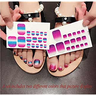 QCBC Full Nail Toes Stickers,Gradient color Style 20 Decals/sheet (Pack of 2 Sheets) 18