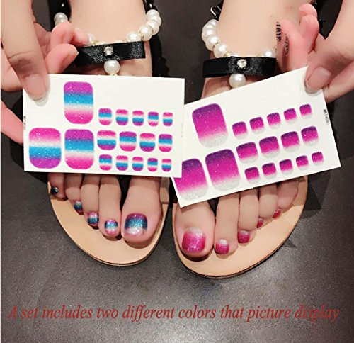 QCBC Full Nail Toes Stickers,Gradient color Style 20 Decals/sheet (Pack of 2 Sheets) 1