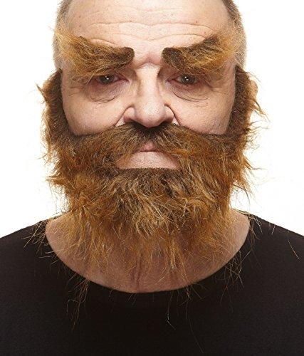 Realistischer brauner Trapper fälschen, selbstklebend Bart, Schnurrbart und Augenbrauen (Halloween Witze Medizinische)