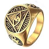 OAKKY Herren 316l Edelstahl Dreieck Auge Gottes Ringe, Jahrgang Gold Größe 57 (18.1)