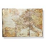 Wandkarte XXL Antik Stil Welt Weltkarte Vintage Historisch Holz 3teilig Wandbild von Haus der Herzen®