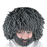 Chnli Winter Warm Handmade Knit Hat Men Women Halloween Gift Funny Party Mask Beanies (Gray)