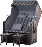 Strandkorb Trendy by deVries TWIN Compact PE onyx - Dessin 423 Strandkörbe inkl. Premium Schutzhülle