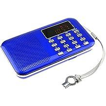iMinker mini portátil de MP3 Radio AM / FM altavoz de medios digitales de la música del jugador de tarjeta del TF / Puerto USB con pantalla LED, la linterna de emergencia, de 3,5 mm para auriculares Jack (Azul)