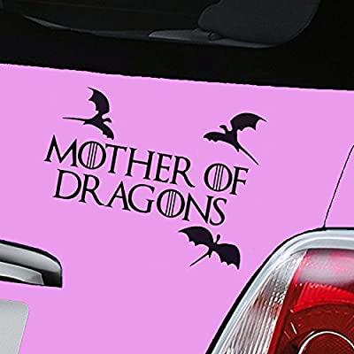Mother of Dragons Game of Thrones Black Car Sticker Decal Vinyl Window Sticker - (one P&P charge no matter how many items you buy from Aerialballs.)