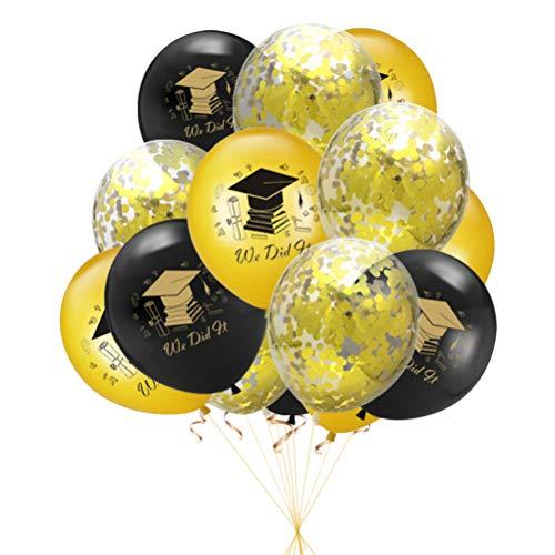 BESTOYARD Abschluss Latex Konfetti Luftballons Set Doktor Hut Buchstaben Druck Pailletten Luftballons Kit für Feier Party Dekoration, 15 stücke, Schwarz Gold