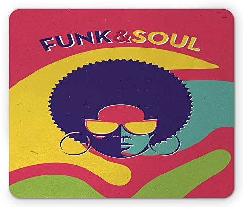 Drempad Gaming Mauspads, Vintage Mouse Pad, Groovy Funk and Soul Event Flyer Print with a Cool Disco Party Music Vinyl Records, Standard Size Rectangle Non-Slip Rubber Mousepad, Multicolor (Groovy Party Supplies)