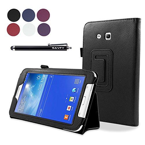 SAVFY® Funda Carcasa cubierta Cuero + Stylus + protector de pantalla Para Samsung Galaxy Tab 3 7.0 Lite SM-T110 T110,