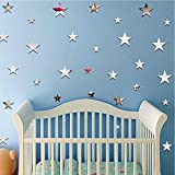 Bfeplfahion 20 Pcs Fashion 3D Star Shape Mirror Decal Wall Stickers DIY Home Room Decor - Golden 3cm - 6.5cm