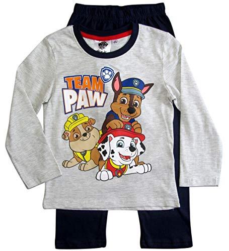 Paw Patrol Schlafanzug Jungen Pyjama Lang (Grau-Blau, 110-116)