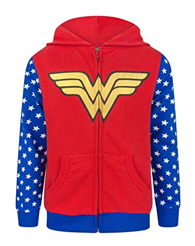 Girls Dc Hoodie (Wonder Woman Logo Girl's Zip-Up Hoodie (7-8 Years))