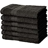 AmazonBasics Fade-Resistant Cotton Hand Towel - 500 GSM - Pack of 6, Black