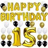 """Queste decorazioni di festa di compleanno sono perfette per creare una buona atmosfera Il pacchetto include: """"Happy Birthday"""" lettere d'aria d'oro (16 pollici/40CM Alti) """"15"""" Numero palloncino (40 pollici/100CM Alti) 24 Pezzi Latex Ballon (colore: or..."""