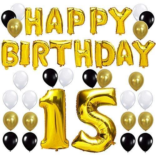 y Buchstaben Ballons +Nummer 15 Mylarfolie Ballon + 24 Stück Schwarzes Gold Weiß Luftballons -Perfekte 15 Jahre alte Geburtstagsfeier Dekoration Lieferungen ()