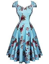 Hearts and Roses London Blau Blumen Chintz Retro Vintage 1950s Ausgestellt Nachmittagskleid